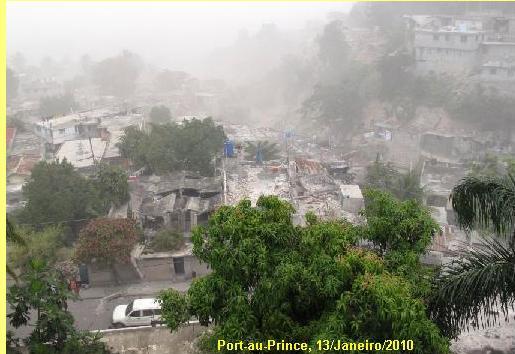 A devastação de Port-au-Prince.