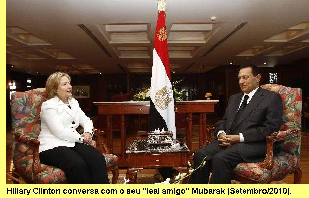 Hillary e Mubarak.
