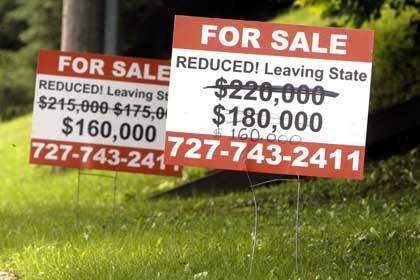 Queda do valor dos imóveis nos EUA.