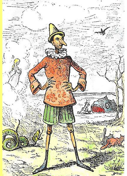 O Pinóquio de Enrico Mazzanti, o primeiro ilustrador do livro de Collodi.