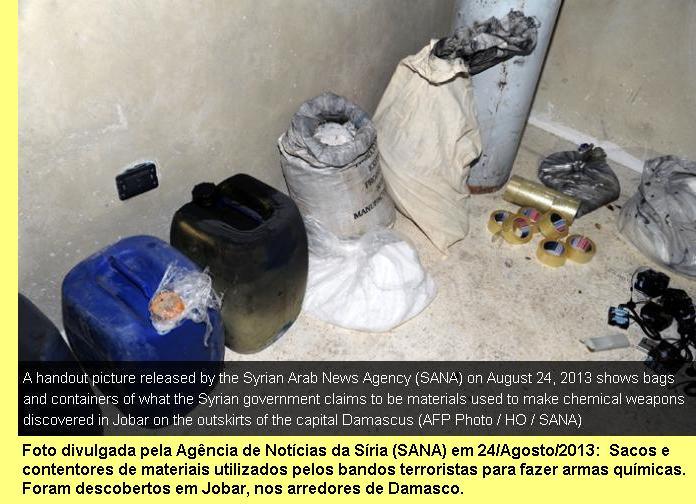 Materiais capturados pelo Exército Sírio aos bandos terroristas.