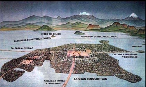 Mapa mural de Tenochtitlan, Museu Nacional de Antropologia do México.