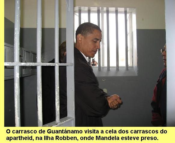 Obama visita a cela de Mandela na África do Sul.