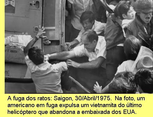 A fuga de Saigon em 1975.