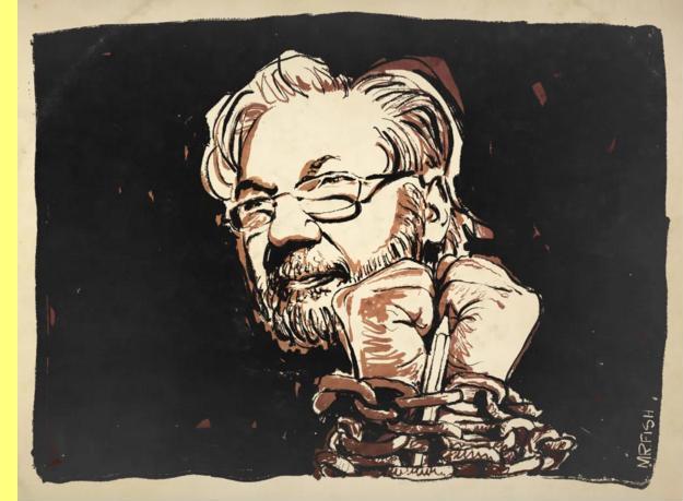 Assange desenhado por Mr. Fish.