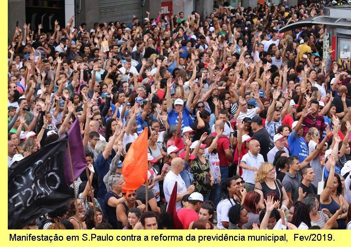 Manifestação em S.Paul contra a reforma da previdência.