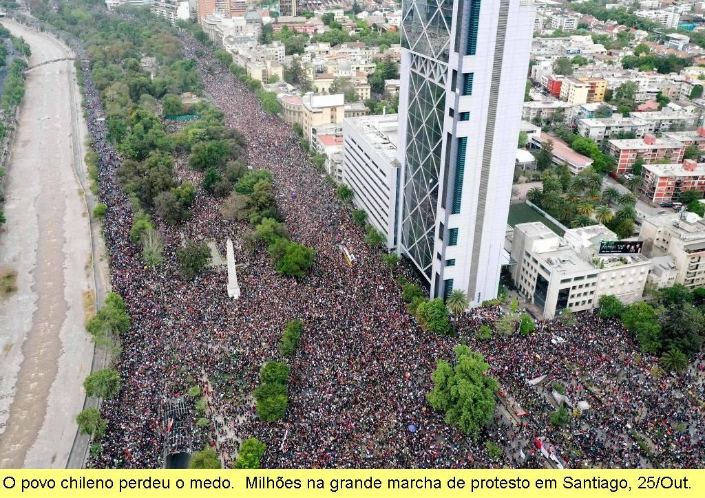 A grande marcha em Santiago.