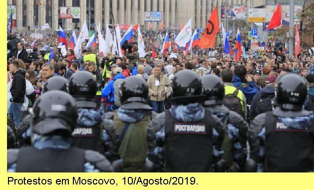 Protesto em Moscovo, 10/Agosto/2019.
