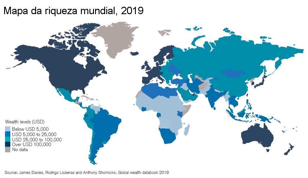 Mapa da riqueza mundial, 2019