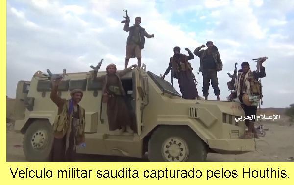 Veículo militar saudita capturado pelos Houthis.