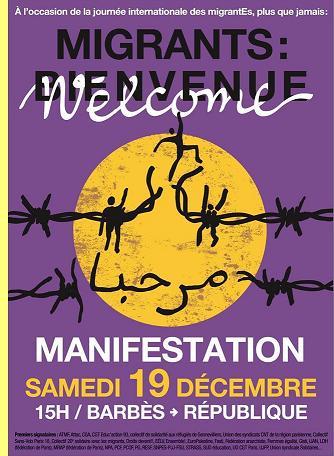 Cartaz da manifestação em Paris.