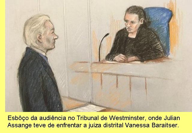 Audiência com a juíza Vanessa Baraitser.