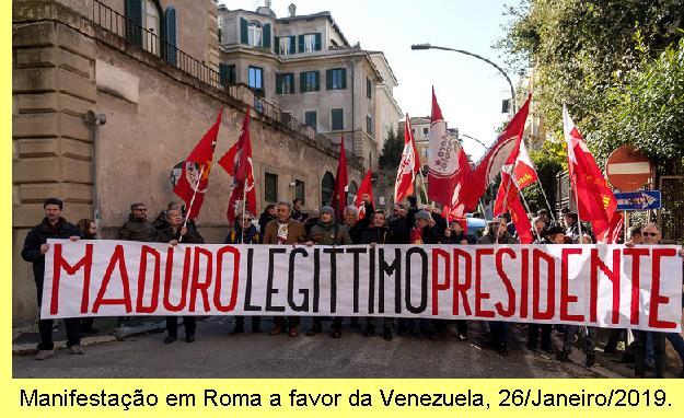 Manifestação na Itália a favor do governo legítimo da Venezuela.